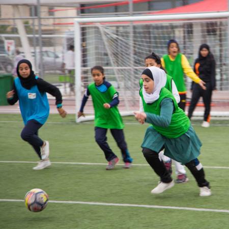 Jordanische Mädchen beim Fußballtraining