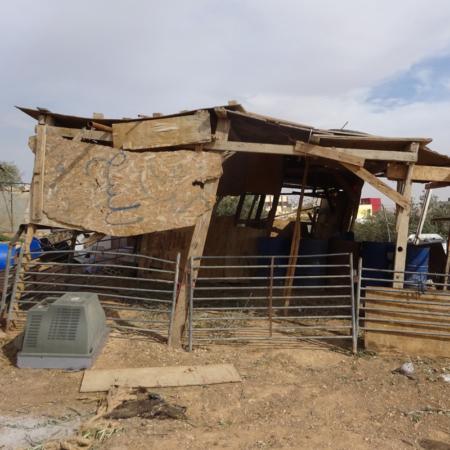 Provisorischer Stall für Nutztiere